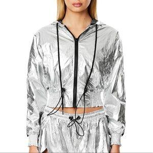 hooded smocked windbreaker metallic